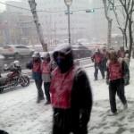 오늘, 1월 31일, 희망발걸음을 걷고 있는 희망뚜벅이들... 몰아치는 눈발을 헤치고..